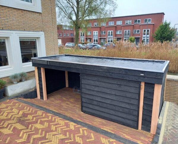 Fietsenhok met afsluitbare schuifdeuren op maat gemaakt   Stoerhout-hetgooi.nl