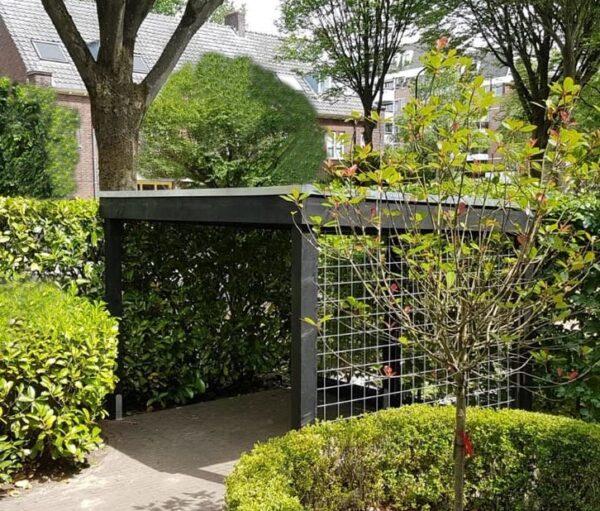 Op maat gemaakte fietsenberging mer gaaspanelen wanden | stoerhout-hetgooi.nl