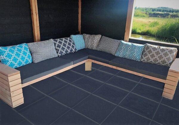 Op maat gemaakte hoek loungebank | stoerhout-hetgooi.nl