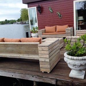 Op maat gemaakte houten loungeset van 3 rechte banken   stoerhout-hetgooi.nl